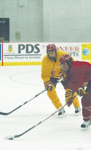 <span class='credit'>Photo By: Kate Dupon | Photographer</span><span class='description'>The Ferris State hockey team works to perfect their skills at the Robert L. Ewigleben Ice Arena. A majority of the defense team that earned fifth place in the CCHA in goals allowed last year have returned for another season.</span>
