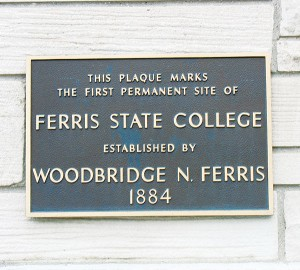 <span class='credit'>Photo By: Megan Coady | Opinions Editor</span><span class='description'>Plaque: This plaque was placed in 1884, the year the school was founded by Woodbridge N. Ferris to provide a center of learning for Big Rapids and the surrounding community.</span>