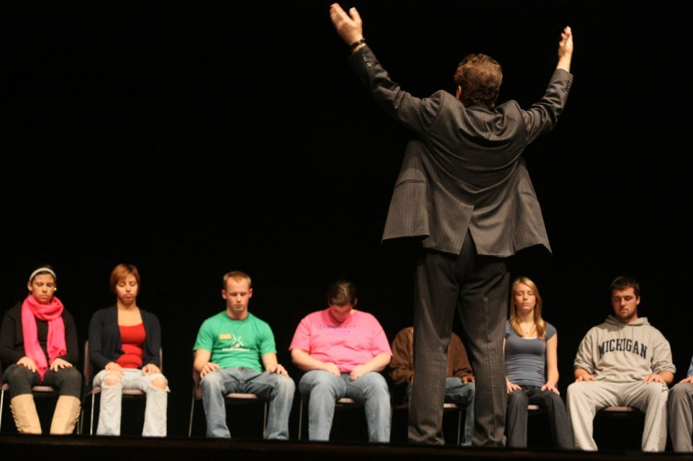 Tom Deluca left students in a trance and audience members amazed after his wonderful hypnotist show.  Tom Deluca always fills the Williams Auditorium year after year.