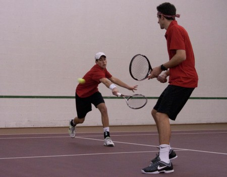 Season Beginning: Ferris seniors, Kyle Revall and Steven Roberts, playing doubles in the Feb. 19 match against Aquinas. The men's team defeated Aquinas 5-4. Photo By: Kate Dupon | Photo Editor