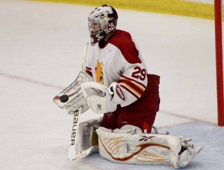Men's Hockey: FSU senior goaltender Taylor Nelson is currently ranked 7th in the nation. Nelson has helped the Bulldogs earn a record of 6-2-0 thus far in the 2011-12 season. Torch File Photo