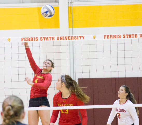 Ferris freshman outside hitter Allyson Cappel (left) is one of eight underclassmen on a Bulldogs squad featuring only three seniors. The Dawgs are currently rolling on a 16-game winning streak.
