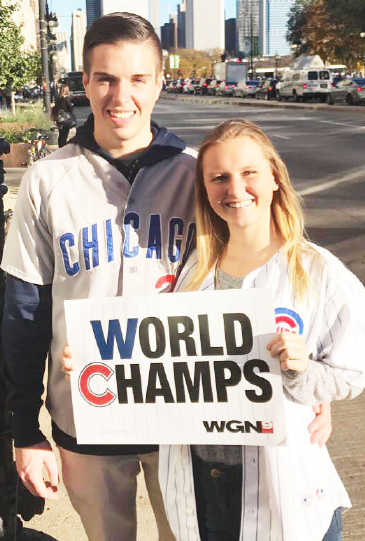 Ferris accounting senior Reed Pifer and dental hygeine sophomore Tori Berry headed down to the Windy City to celebrate the Cub's World Series victory.